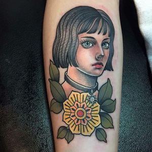 Neotraditional Mathilda portrait by Swan Tattoo #Neotraitional #Mathilda #Leon #LeonTheProfessional #portrait #SwanTattoo
