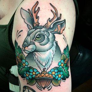 Jackalope tattoo by Amanda Slater. #jackalope #fable #imaginary #animal #antler #rabbit #AmandaSlater