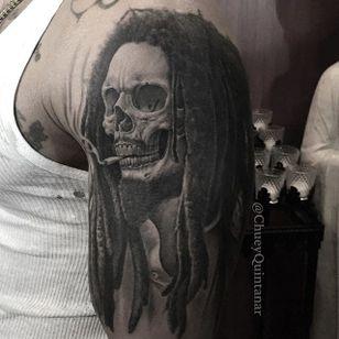 Rasta skeleton by @chueyquintanar #chueyquintanar #blackandgrey #realism #skull #bobmarley