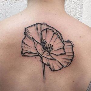Poppy tattoo by Kevin Plane #KevinPlane #sketchstyle #sketch #blackwork #poppy