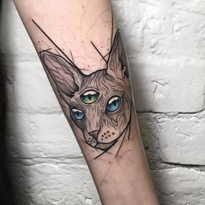 Third Eye Sphynx by Anastasia Slutskaya #AnastasiaSlutskaya #color #blackandgrey #linework #dotwork #sphynx #cat #thirdeye #allseeingeye #abstract #tattoooftheday