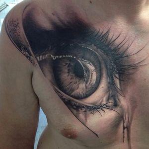 Eye tattoo by Florian Karg #Florian Karg #trashstyle #trashart #trash #trashpolka #realistic #dark #horror #graphic #eye
