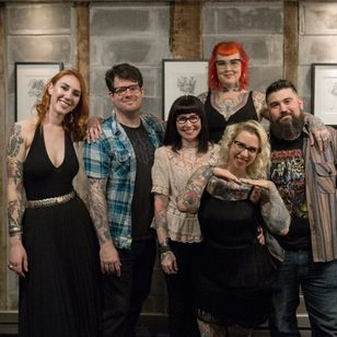 """The 8 of Swords gang at the opening reception for Zoe Bean's solo art exhibition """"Keepsake"""" at 8 of Swords Tattoo. Photo credit Ann Marie Amick (IG -- am_amick) cropped by Tattodo staff #eightofswords #zoebean #keepsake"""