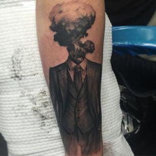 What happens when you over-think things. Tattoo by Jonas Bødker. #blackandgrey #realism #JonasBødker #gentleman #headless