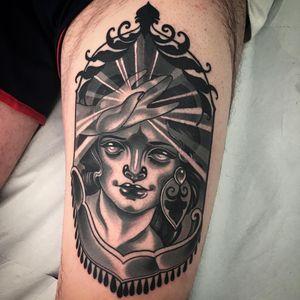 Lady love tattoo by Vale Lovette #ValeLovette #blackandgrey #portrait #ladyhead #Artnouveau #neotraditional #light #hand #lips #eyes #face #lady #jewelry #gems #filigree #floral #leaves