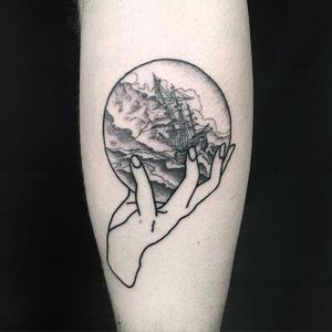 Stormy Sea Tattoo by Russell Winter #stormtattoo #stormytattoo #blackwork #blackworktattoo #blackworktattoos #blackworkartists #blacktattooing #blackink #darktattoos #darkink #RussellWinter #storm #sea