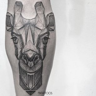 Giraffe tattoo by Fin T. #FinT #malaysia #geometric #animal #origami #pointillism #dotwork #giraffe