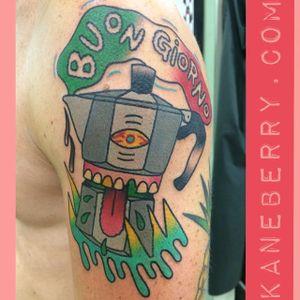 Barista-insipired tattoo by Kane Berry. #KaneBerry #coffee #barista #caffeine #coffeelover #coffeepot