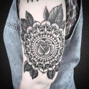 Gorgeous mandala rose tattoo by Mike Burns #mandala #losangelestattoo #rose #flower #MikeBurns #blackwork #linework #shading