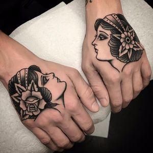 Lovely ladies by Andrea Giulimondi #andreagiulimondi #traditional #blackandgrey #blackwork #lady #rose #flower #portrait #tattoooftheday