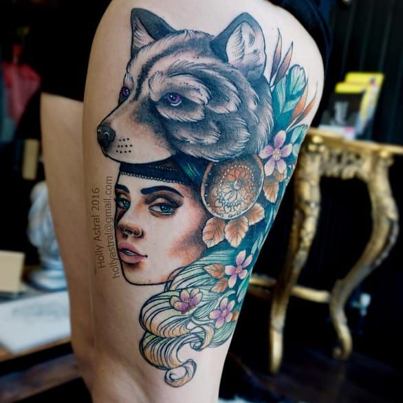 Woman's head tattoo by Holly Astral #HollyAstral #womanshead #flowers #bear