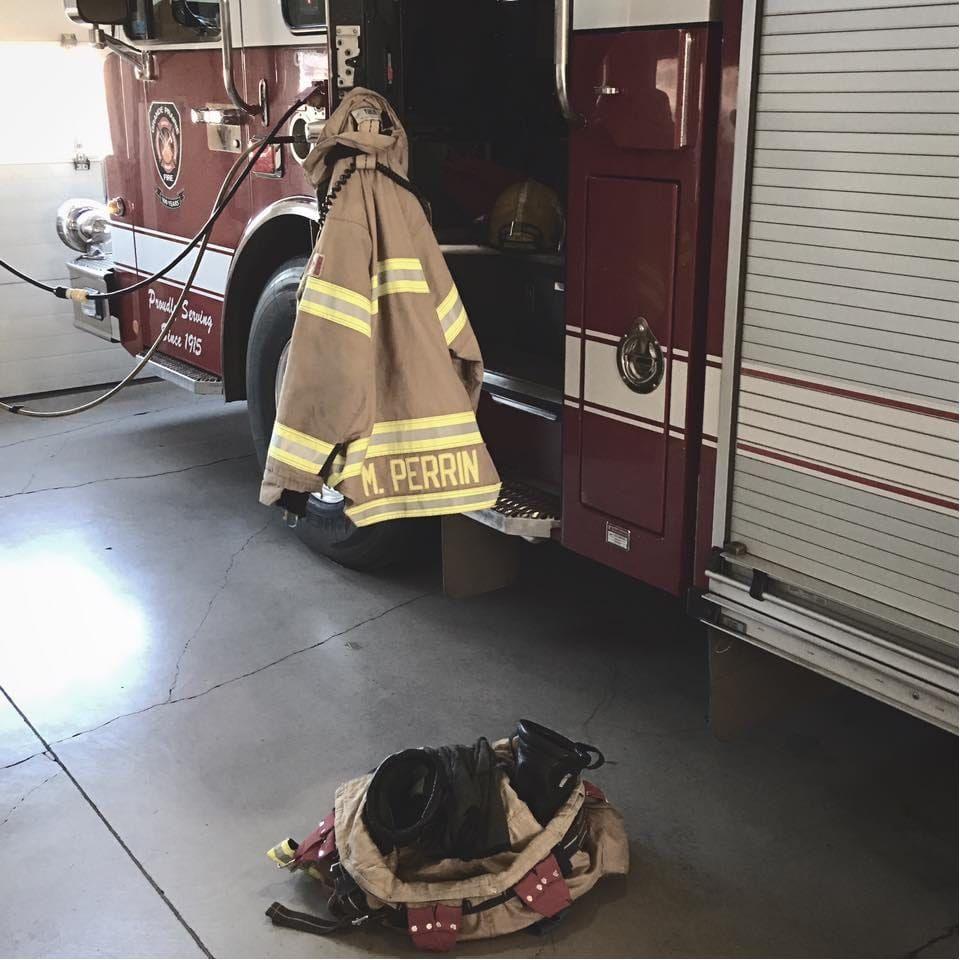Marshall has his uniform ready for the next fire Photo from Marshall Perrin on Instagram #MarshallPerrin #tattoomodel #tattooedguys #firefighter #tattoododudes
