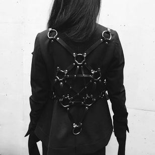 Pentagram Harness by Zana Bayne (via IG-mako_addictnoir) #harness #bdsm #leather #pentagram #fashion #zanabayne