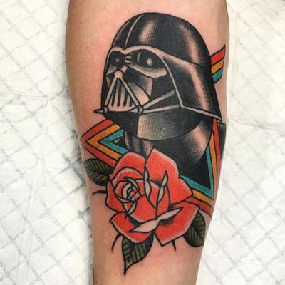 Darth Vader tattoo by Heath Nock #HeathNock #portraittattoos #DarthVader #StarWars #movietattoo #movies #famouspeople #rose #rainbow #pinkfloyd #darksideofthemoon #triangle #leaves #musictattoo #tattoooftheday