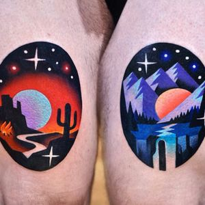Desert and forest respites by David Peyote #thedavidcote #DavidPeyote #newtraditional #color #landscape #desert #cactus #fire #stars #galaxy #solarsystem #mountains #stream #water #road #forest #sun #moon #tattoooftheday