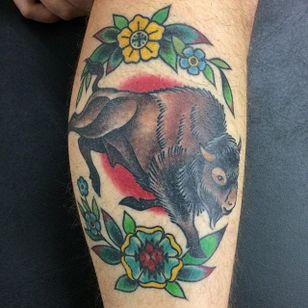 Buffalo Tattoo by Megon Shoreclay #Buffalo #BuffaloTattoo #Bison #AmericanTraditional #Traditional #MegonShoreclay