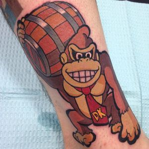 Donkey Kong Tattoo by Brian Russell #DonkeyKong #gorilla #monkey #Nintendo #Gaming #BrianRussell