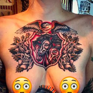 Pharaoh's horses and an eagle chest tattoo by Jacob N. #JacobN #traditionaltattoo #boldtattoo #oldschool #pharaohshorses #eagle #roses #traditional