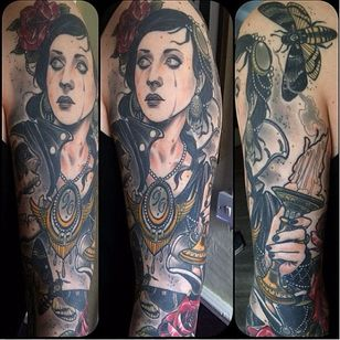 Badass tattoo by Jurgen Eckel #JurgenEckel #neotraditional #lady