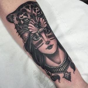 Native girl wearing a leopard head by Jean Le Roux. #neotraditional #woman #JeanLeRoux #neotradlady #nativegirl #leopard