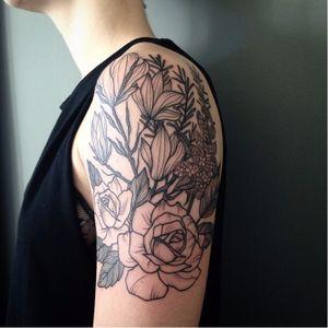 Vintage botanical tattoo by Kerry Burke #KerryBurke #blackwork #blacktattoo #darkartists #blackbotanists #botanicaltattoo #flowertattoo #vintageflowers #vintagebotanical