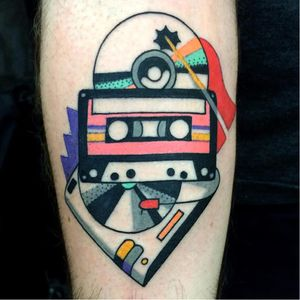 This tattoo makes us want to rock. Tattoo by Luca Font  (Via IG - lucafont) #LucaFont #art #abstract #cubism #fineart #surrealism #music #tapes #record