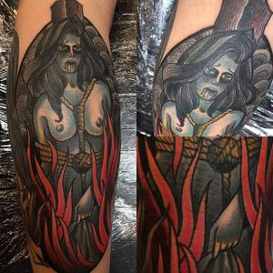 Burning Witch Tattoo by Loo Pimble #witch #witchtattoo #burningwitch #burningwitchtattoo #witchhunt #witchhunttattoo #horrortattoo #LooPimble