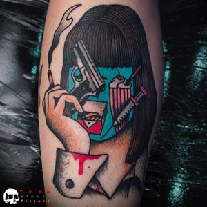 Mia from Pulp Fiction Faceless Tattoo by @TeenHeartsTattoos #Teenheartstattoos #Faceless #Facelesstattoos #Neotraditional #Neotraditionaltattoos #SantaAna #California #Miatattoo #Pulpfiction #Pulpfictiontattoo