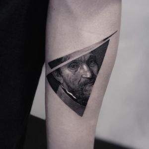 Michelangelo tattoo by Cold Gray #ColdGray #blackandgrey #realism #realistic #hyperrealism #Michelangelo #portrait #face #fineart #sculpture #oldworld #famous #artist