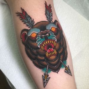 Bear Tattoo by Miguel Lepage #bear #neotraditional #neotraditionalartist #contemporary #bold #canadianartist #MiguelLepage
