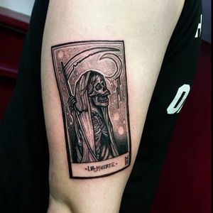 Another macabre card by Alvaro Diaz #tarot #AlvaroDiaz #tarotcard #death #reaper #blackwork #cards