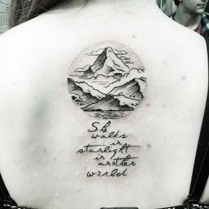 Quote tattoo by Evan Jones. #quote #inspirational #inspirationalquote #motivation #meaning #meaningful #script #sayings #linework #mountain #EvanJones