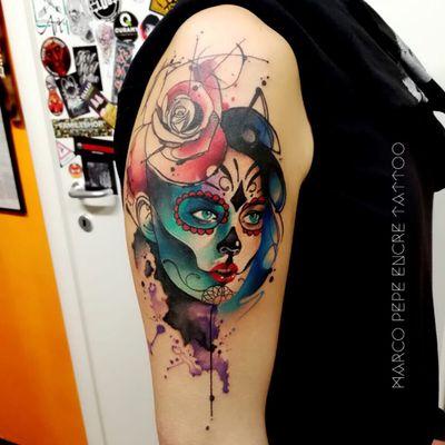 Catrina #MarcoPepe #gringo #watercolor #aquarela #neotraditional #traditional #neotrad #tradicional #catrina #woman #mulher #girl #garota #mexican #mexicana #rose #rosa #flor #flower