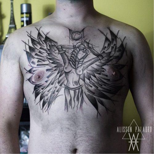 #AlissonPalaoro #brasil #brazil #brazilianartist #tatuadoresdobrasil #blackwork #sketch #pontilhismo #dotwork #deusa #godess #asas #wings #woman #mulher