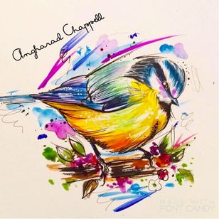 Bird tattoo design by Angharad Chappell #AngharadChappell #watercolour #bird