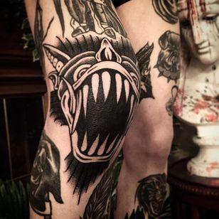 Monster Tattoo by Scar Tattooer #monster #blackwork #blackworkartist #black #korean #koreanartist #ScarTattooer