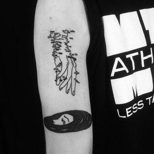 Glitched hand tattoo by Denis Simonov. #DenisSimonov #DSMT #blackwork #aesthetic #glitch #cyber #hand
