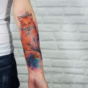 Foxy friend! By Paulo Victor Skaz (via IG—skazxim) #watercolor #freeform #animal #creature #PauloVictorSkaz #colorful