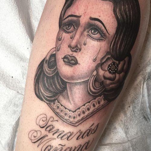 Lady head tattoo by Tamara Santibanez #TamaraSantibanez #ladyheadtattoo #blackandgrey #oldschool #portrait #illustrative #crying #tears #teardrops #jewelry #flower #eyes #lace #lady #tattoooftheday