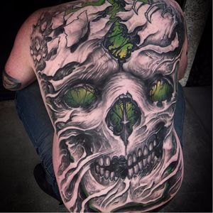 Stained Glass Skull by Jeremiah Barba #JeremiahBarba #blackandgrey #color #realism #realistic #darkart #skull #stainedglass #death #paper #smoke #backpiece #tattoooftheday