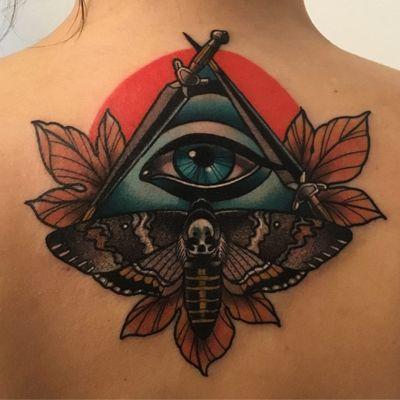 All seeing eye tattoo by Nina Laine #NinaLaine #CoverUpTattoos #color #neotraditional #allseeingeye #leaves #moth #deathmoth #death #skull #eye #thirdeye #swords #tattoooftheday