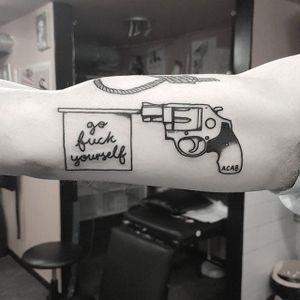 Pistol tattoo by Mr. Heggie. #MrHeggie #blackwork #uk #british #alternative #contemporary #gun #swear #pistol