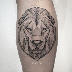 Lion tattoo by Fin T. #FinT #malaysia #geometric #animal #origami #pointillism #dotwork #lion
