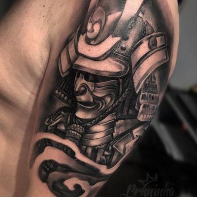 Samurai #BrunoFelipe #BruninhoTattoo #tatuadoresdobrasil #brasil #brazil #brazilianartist #realismo #realism #pretoecinza #blackandgrey #samurai #oriental #guerreiro #warrior