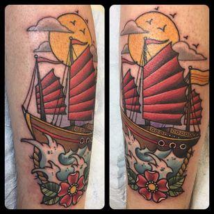 Junk Ship Tattoo by Kyle Behr #junkship #junkboat #junk #asianboat #chineseboat #chineseboats #chinesetattoo #KyleBehr