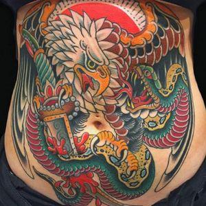 Eagle Tattoo by Gordon Combs #eagle #traditionaleagle #traditional #traditionalanimal #animal #traditionalartist #GordonCombs