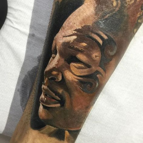 Mike Tyson Tattoo by Andrea Deriu #MikeTyson #MikeTysonTattoo #BoxingTattoo #SportTattoos #Portrait #AndreaDeriu