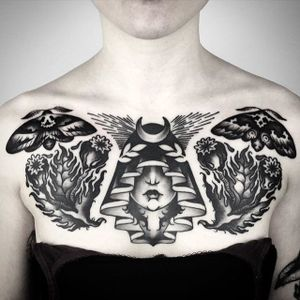 Chestpiece Tattoo by Matteo Al Denti #mothtattoos #moth #blackworkmoth #blackwork #blackworktattoo #blackworktattoos #blackworktattooing #blackworkartists #blackworkdesigns #blackink #darktattoos #MatteoAlDenti