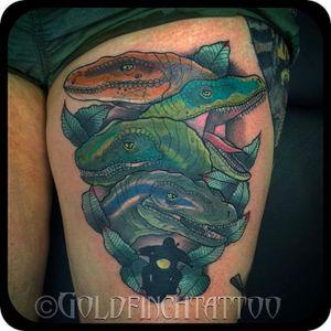 The raptor squad, tattoo by Ashley Goldfinch #AshleyGoldfinch #JurassicPark #JurassicWorld #dinosaur #velociraptor