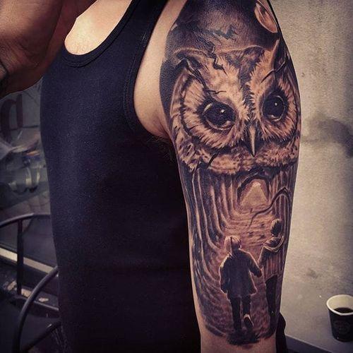 Black and grey forest scene tattoo by Kobay Kronik. #blackandgrey kandgrey #realism #owl #forest #KobayKronik